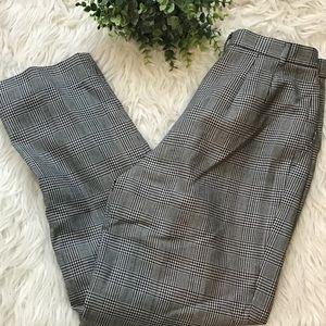 Talbots Pleated Wool Houndstooth Glen Plaid Pants